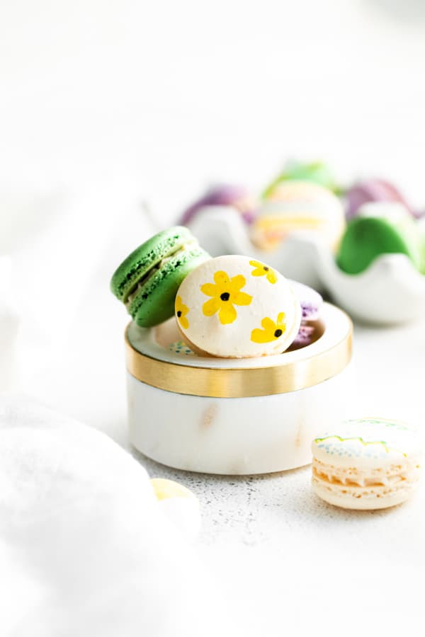 easter egg macarons decorated with flowers