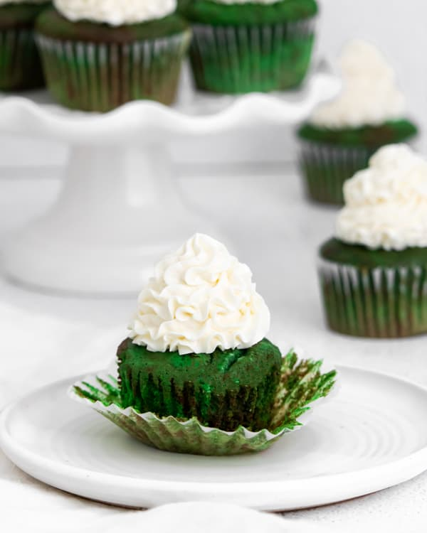unwrapped green velvet cupcake.
