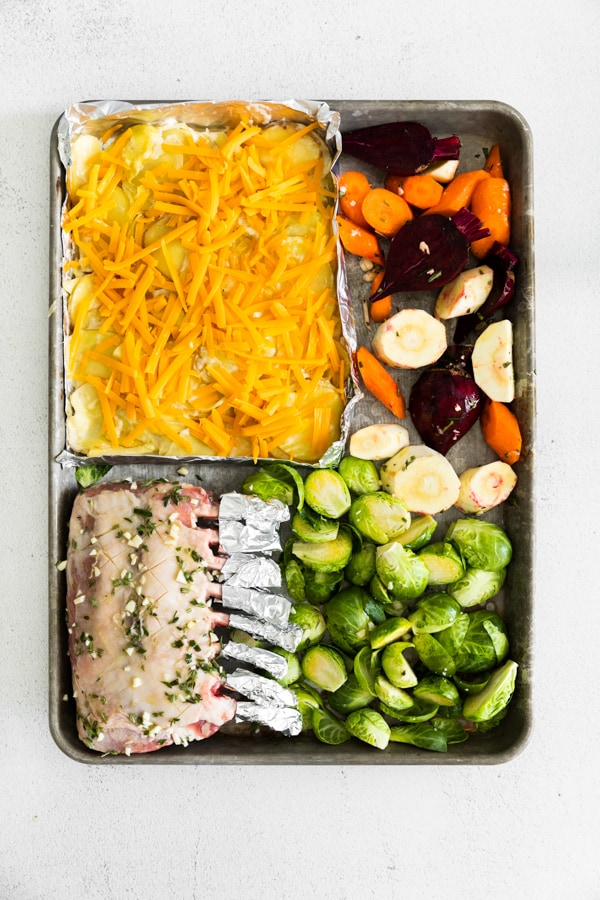 uncooked sheet pan easter dinner.