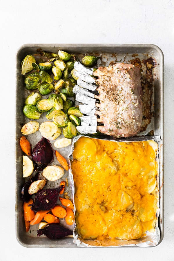 cooked sheet pan easter dinner.