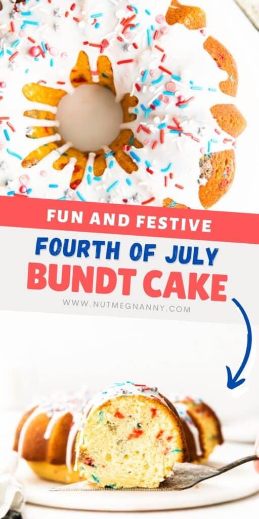 Fourth of July Bundt Cake pin for pinterest.