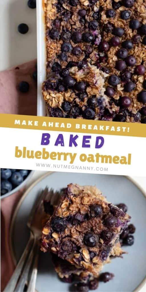 Baked Blueberry Oatmeal pin for pinterest.