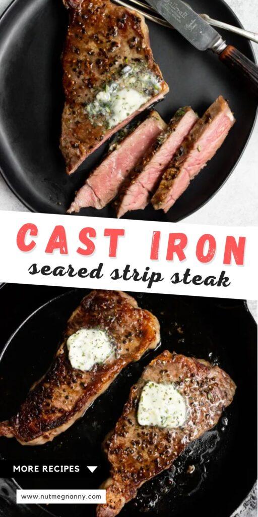 Cast Iron Seared Strip Steak pin for pinterest.