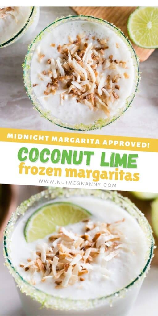 coconut lime frozen margarita pin for pinterest.