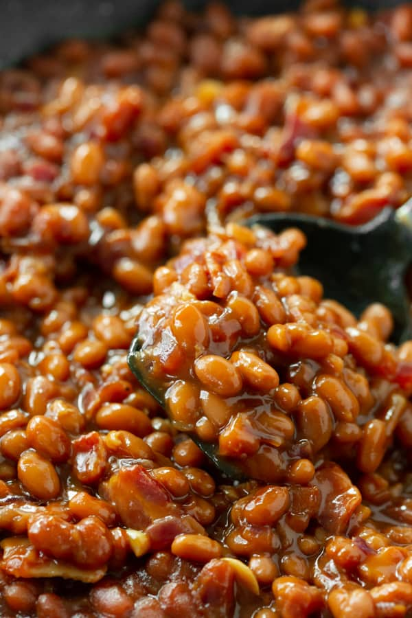a spoonful of easy bacon baked beans.