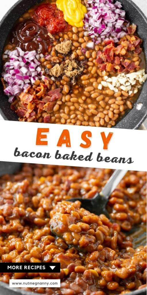easy bacon baked beans pin for pinterest.