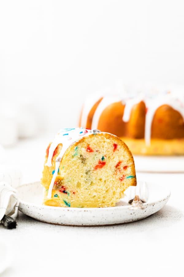 A slice of Fourth of July Bundt Cake.