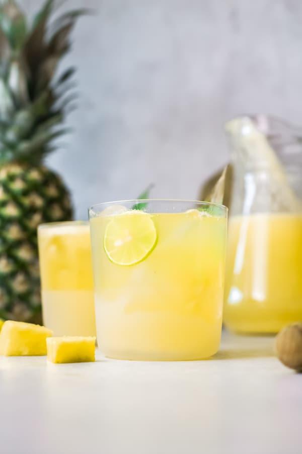 Pineapple Agua Fresca in a glass.