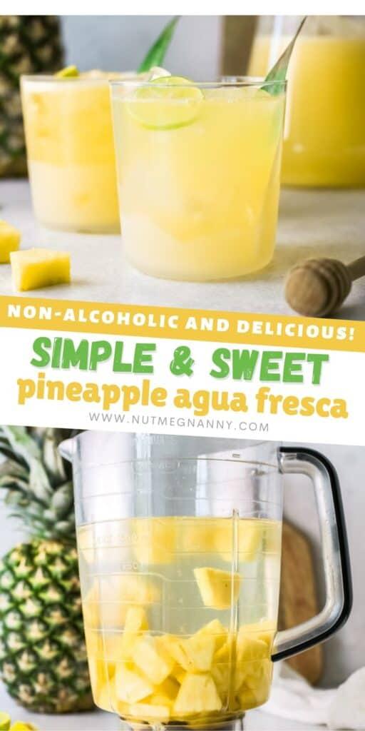 Pineapple Agua Fresca pin for pinterest.