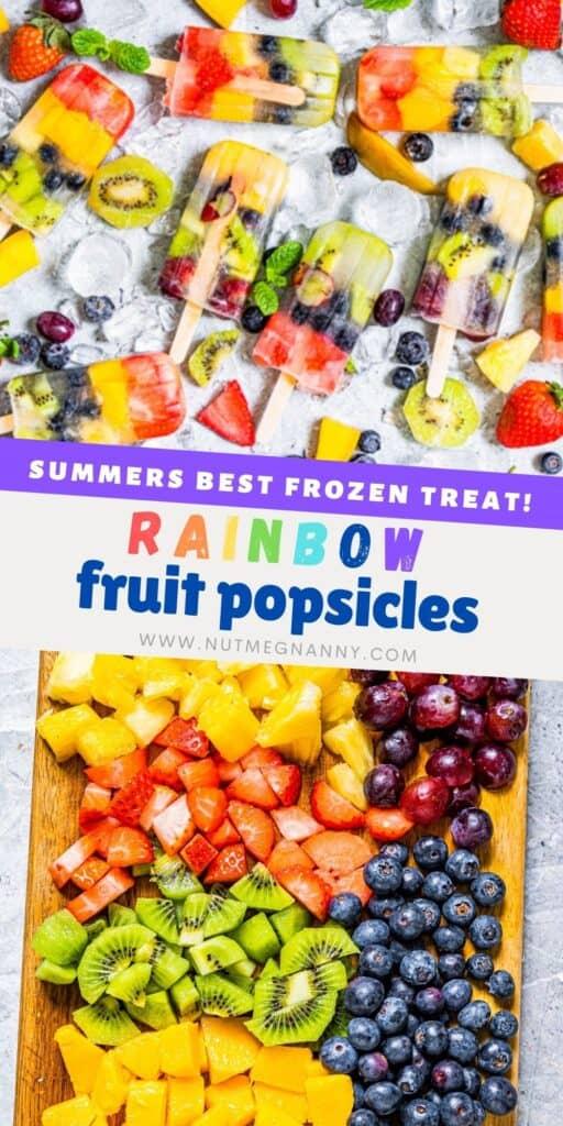 Rainbow Fruit Popsicles pin for pinterest.