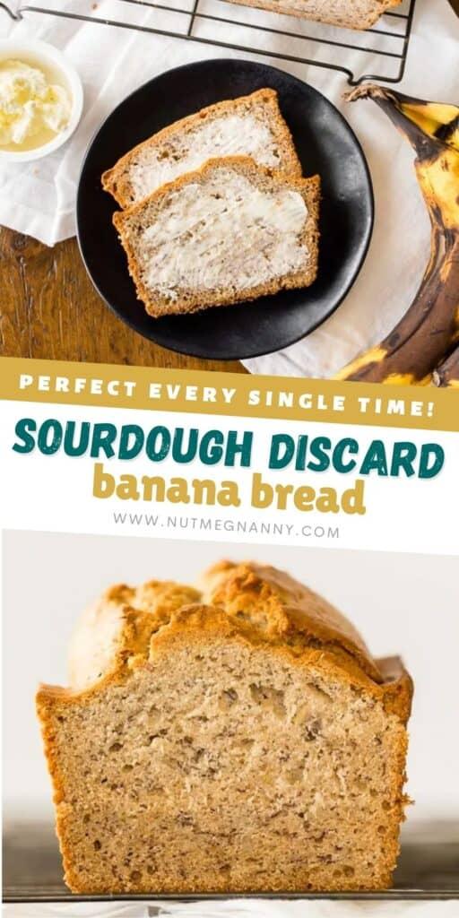 sourdough discard banana bread pin for pinterest.