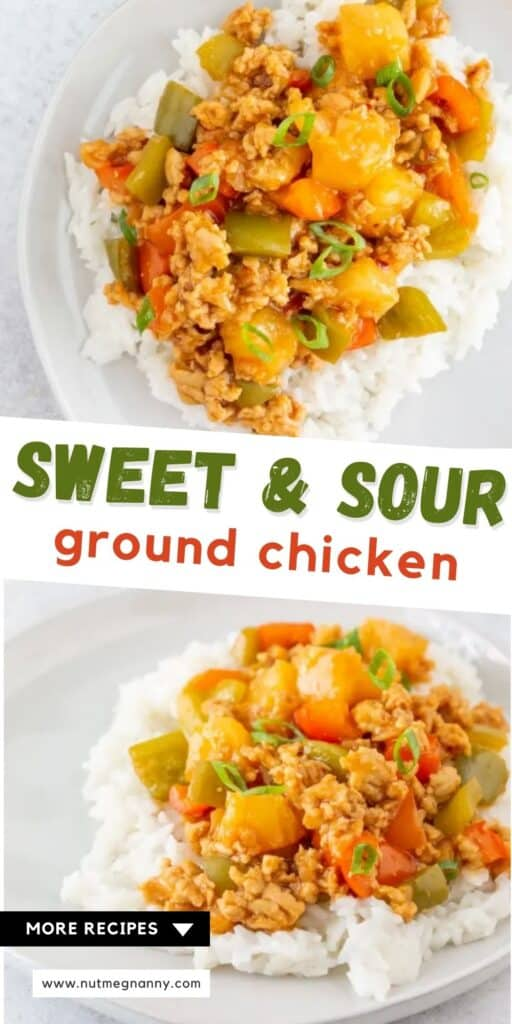 sweet and sour ground chicken pin for pinterest.