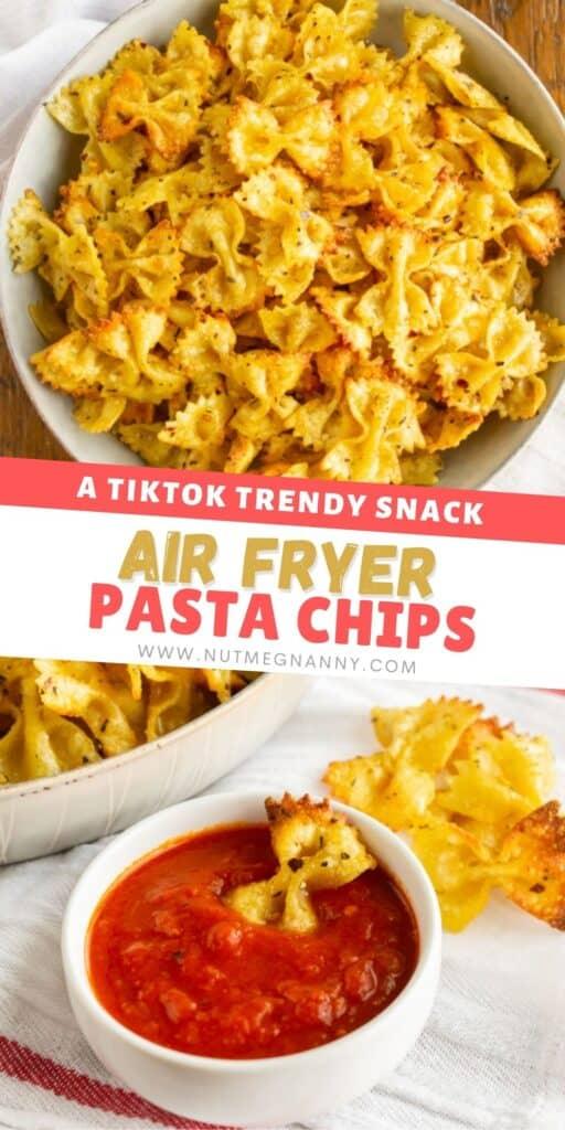 air fryer pasta chips pin for pinterest.
