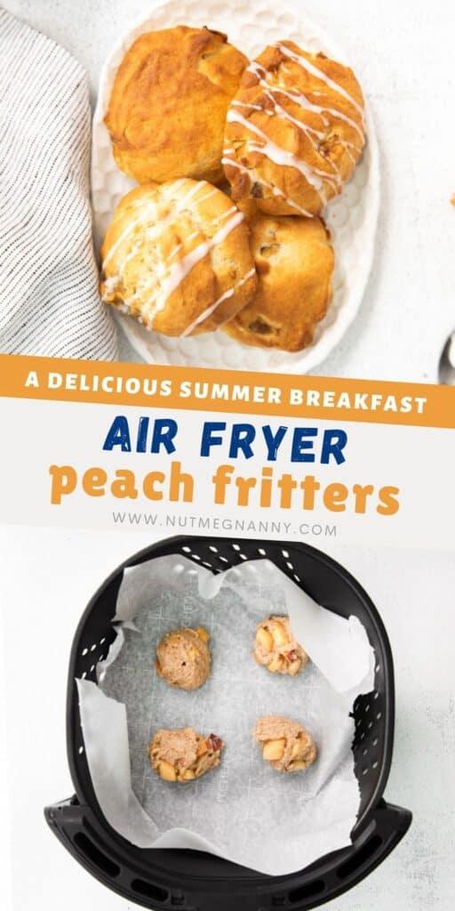 air fryer peach fritters pin for pinterest.