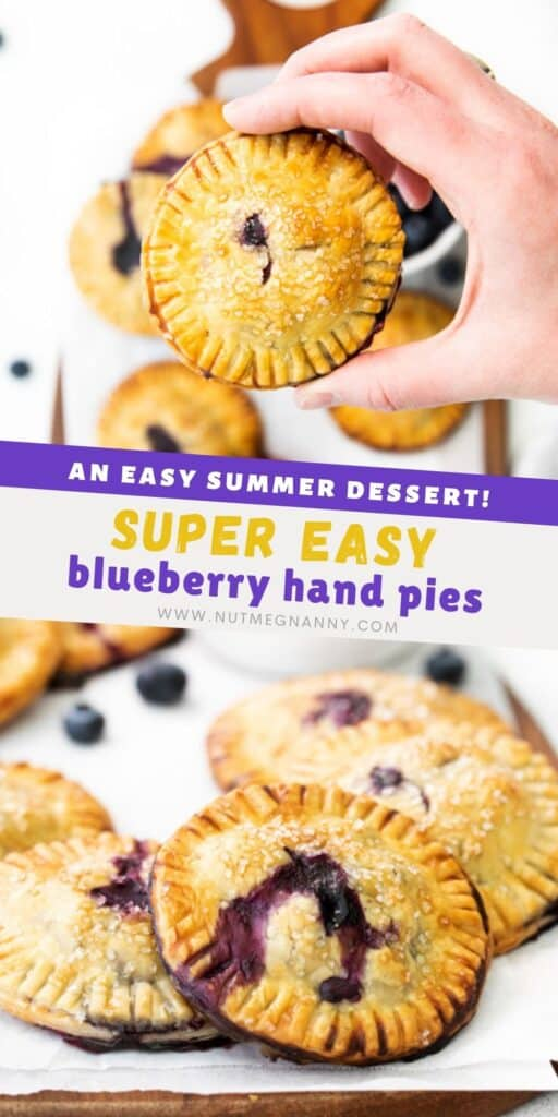 easy blueberry hand pies pin for pinterest.