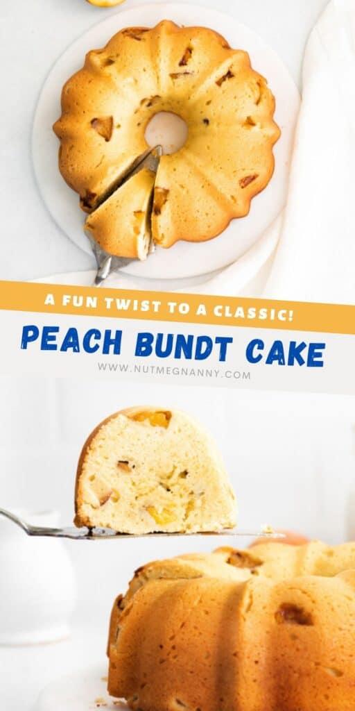 Peach Bundt Cake pin for pinterest.