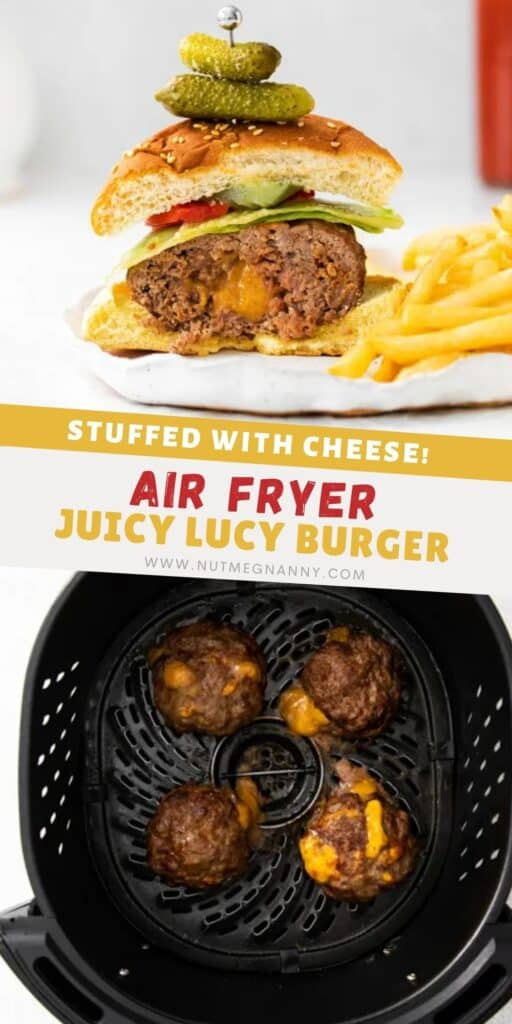 air fryer juicy lucy burger pin for pinterest.