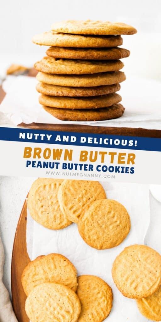 Brown Butter Peanut Butter Cookies pin for pinterest.