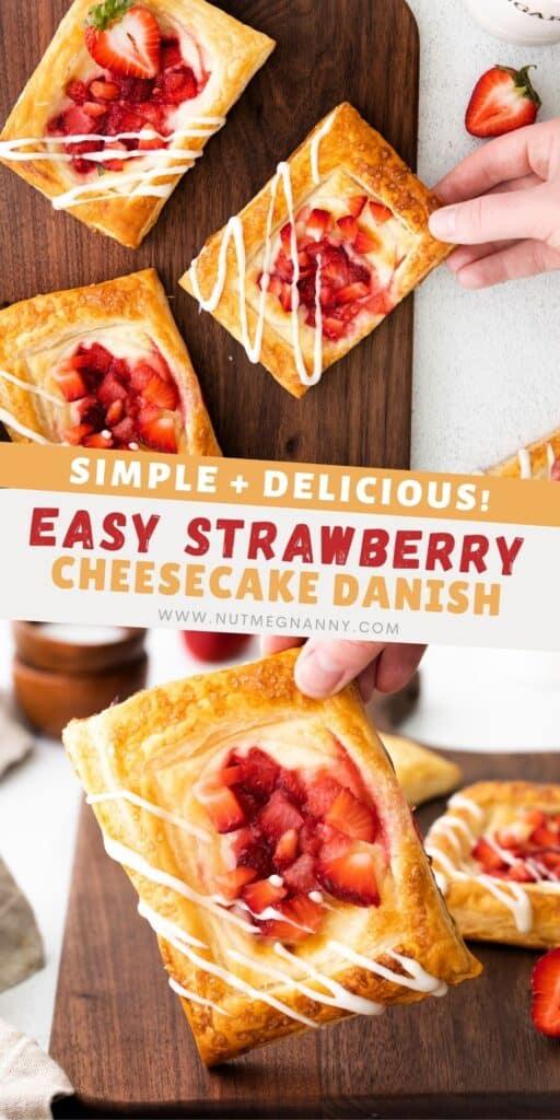 easy strawberry cheesecake danish pin for pinterest.