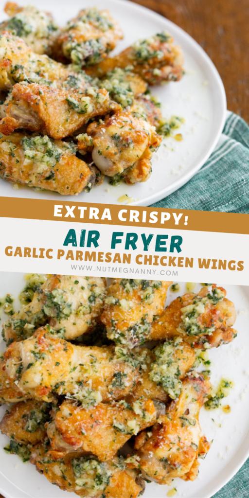 Air fryer garlic parmesan chicken wings pin for pinterest.
