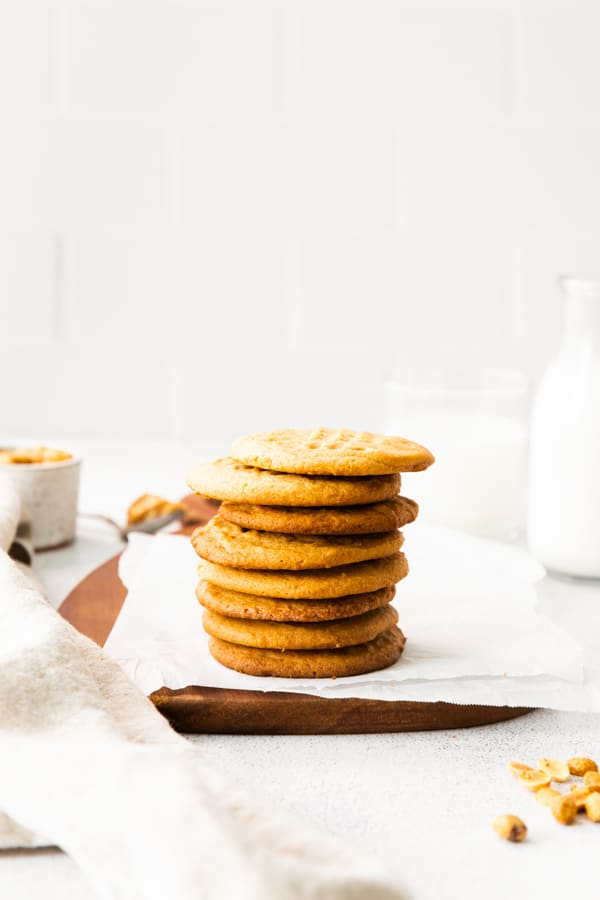 A stack of Brown Butter Peanut Butter Cookies.