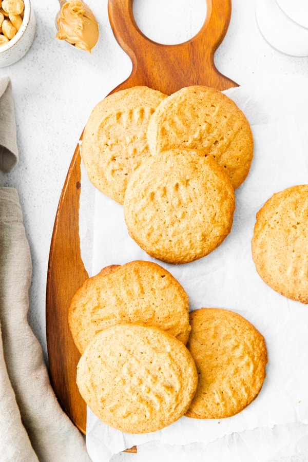 Brown Butter Peanut Butter Cookies served on top of parchment paper.