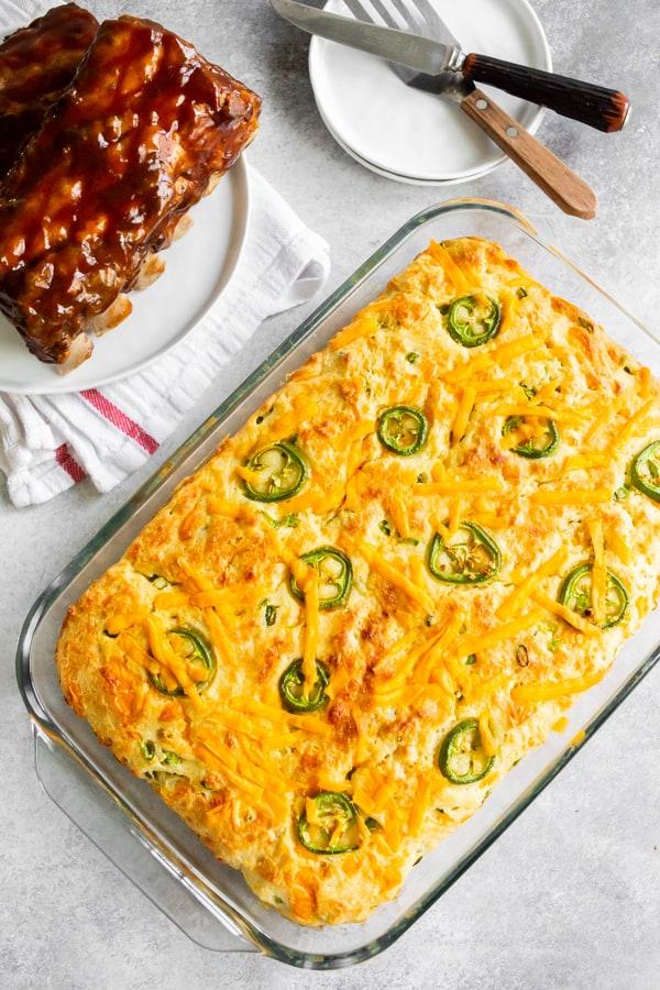 a 9x13 pan of jalapeño cheddar cornbread