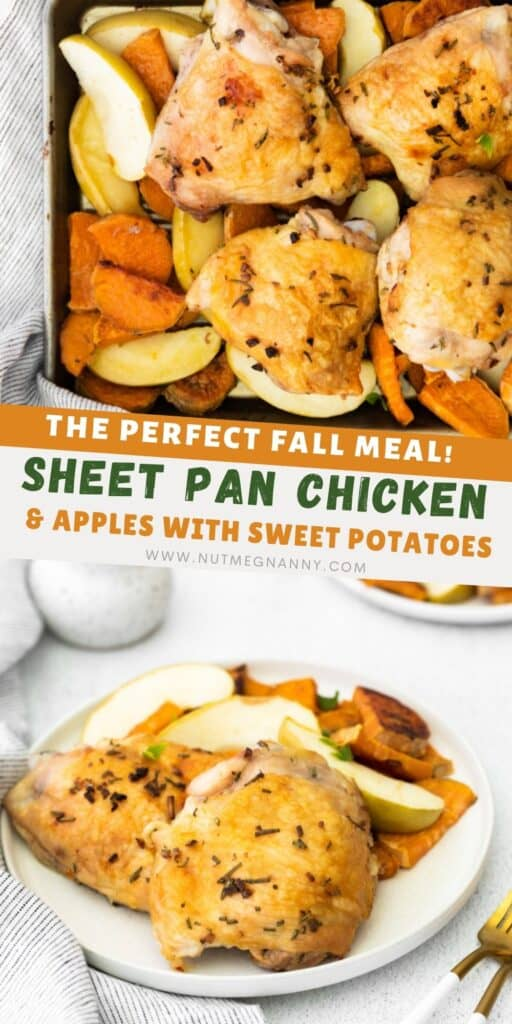 Sheet Pan Chicken and Apples pin for pinterest.