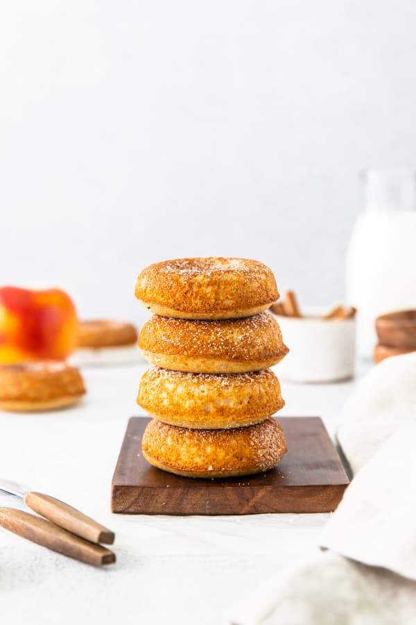 A stack of Baked apple cider donuts.