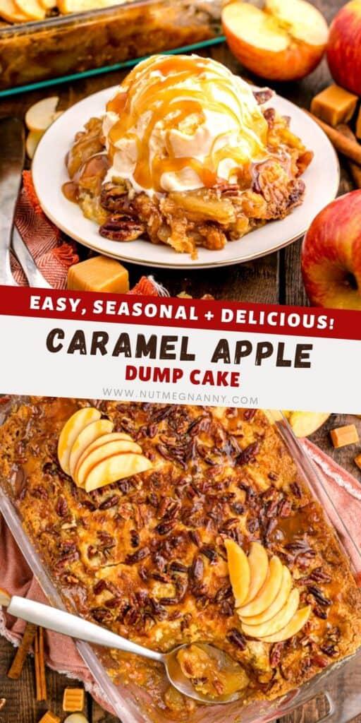 Caramel Apple Dump Cake pin for pinterest.