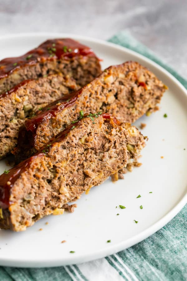 a close up slice of Classic Beef Meatloaf.