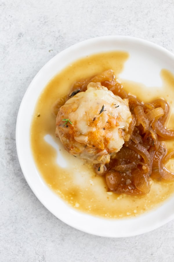 French Onion Chicken Meatballs served on a plate.