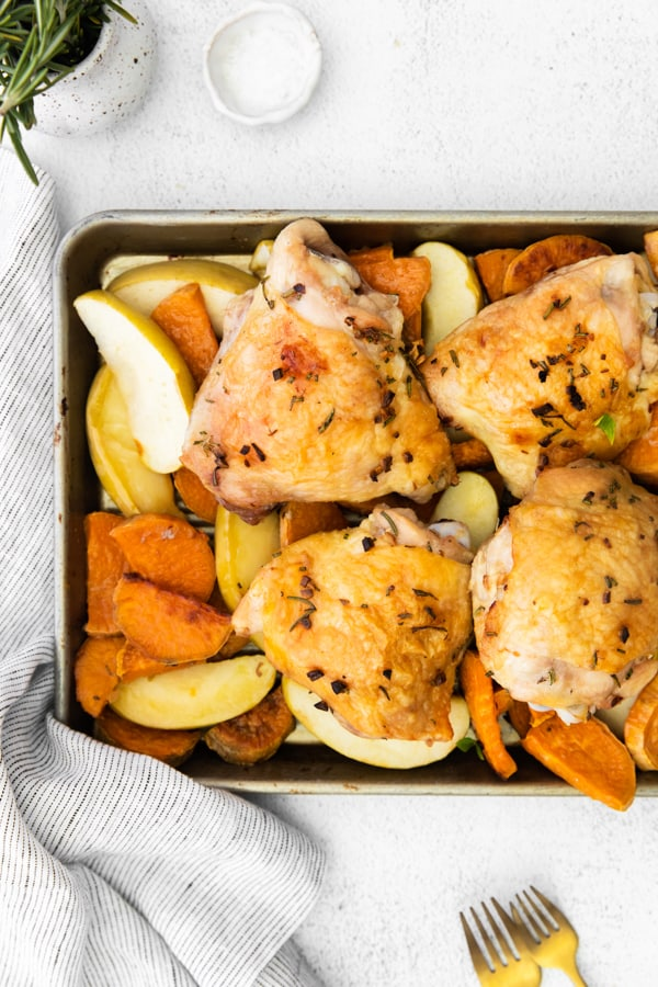 Sheet Pan Chicken and Apples cooked on a sheet pan.