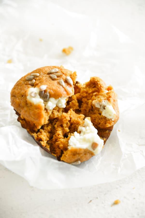 Pumpkin Cream Cheese Muffins cut in half.